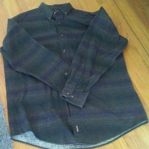 Woolrich Mens Size L Button Down Green Flannel Shi